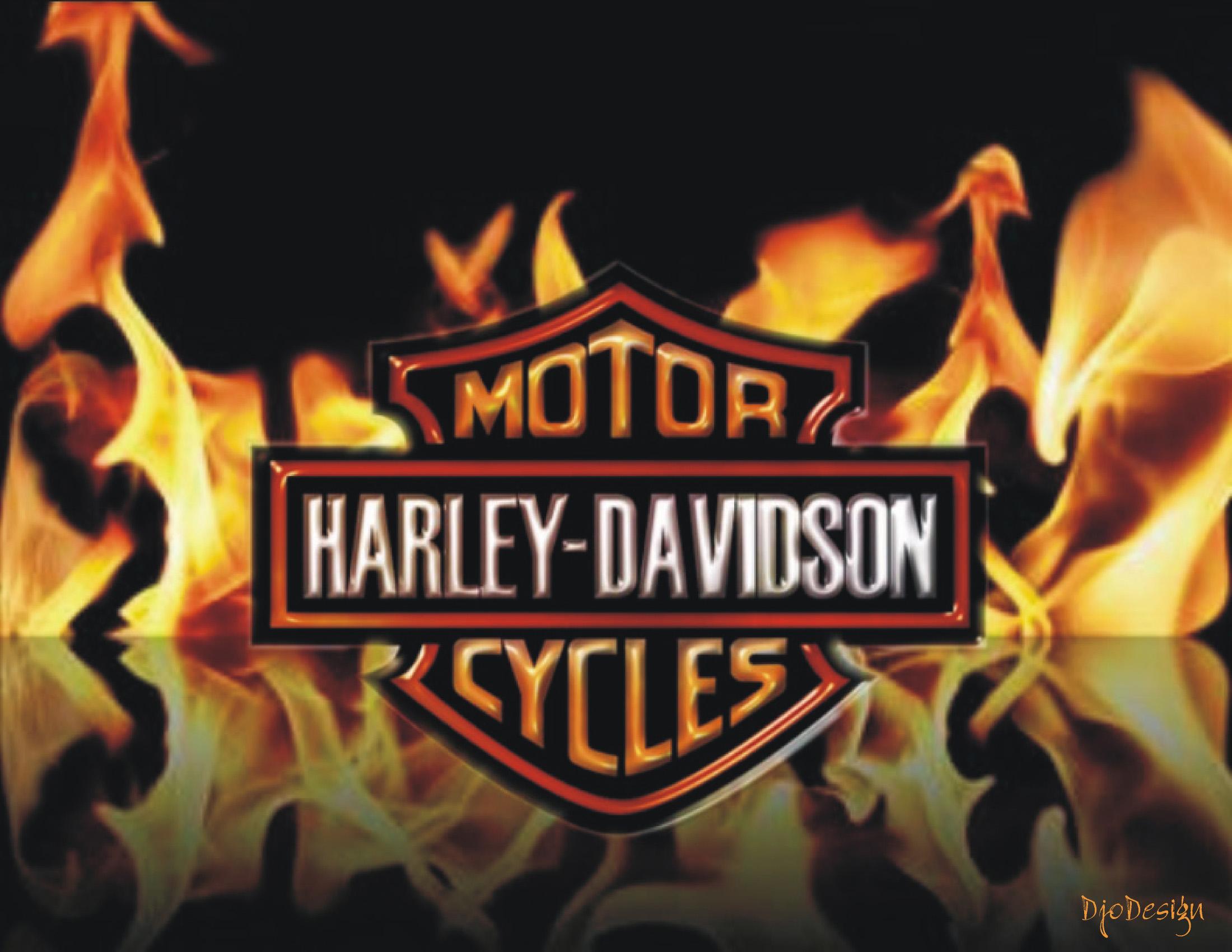 Harley Davidson Logo Fire
